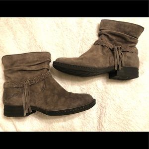 BORN Braided Cross Strap Leather Ankle Boots